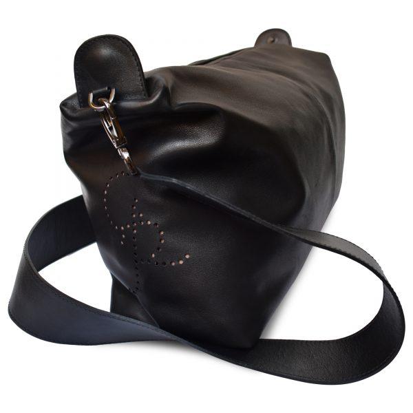 Falena. Leather black shoulder bag Made in Italy