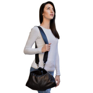 Falena. Leather black shoulder bag Made in Italy