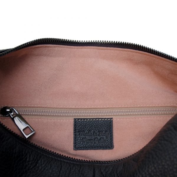 Falena. Leather black crossbody bag Made in Italy