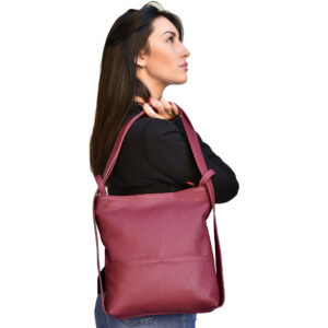 Leather backpack converts to shoulder bag for women