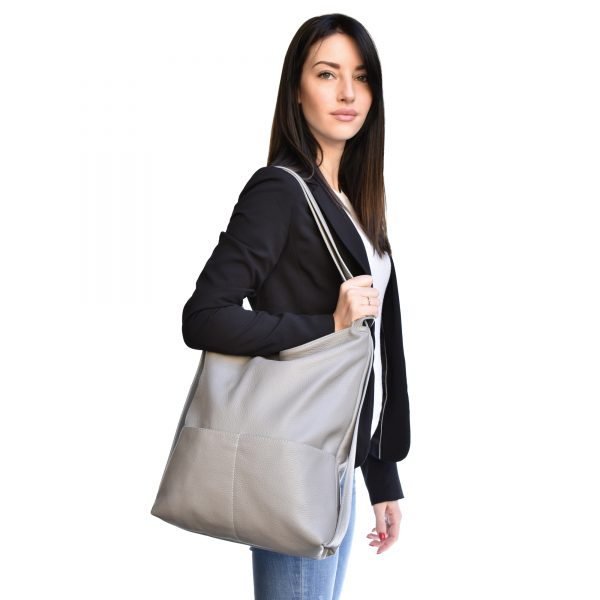Leather backpack purse bag grey