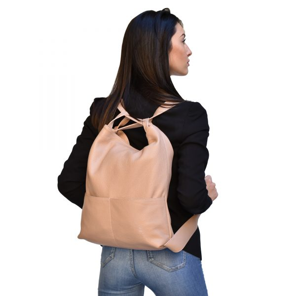 Leather backpack purse bag-Pink