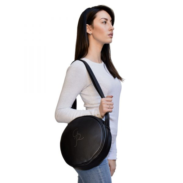 Round Black Leather Bag convertible for woman
