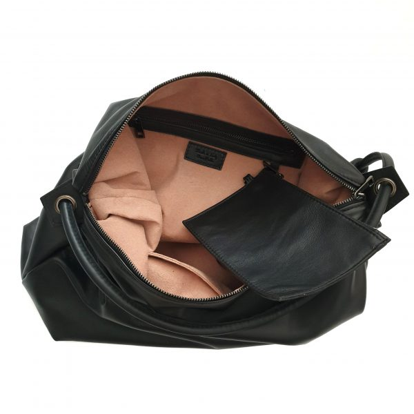 Manila. Hobo leather bag by Ganza Roma made in Italy