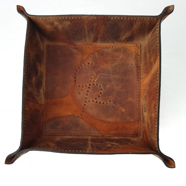 Nicola. Leather valet tray - Ganza Roma - Made in Italy