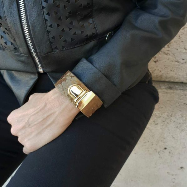 Cristel. Leather bracelets with snap - Made in Italy