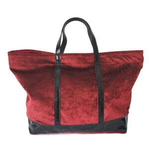 Colma. Red velvet tote bag and leather - Made in Italy