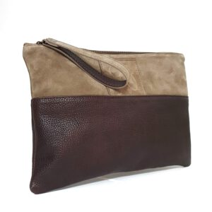 Chiara. Suede leather clutch bag Italian Handmade