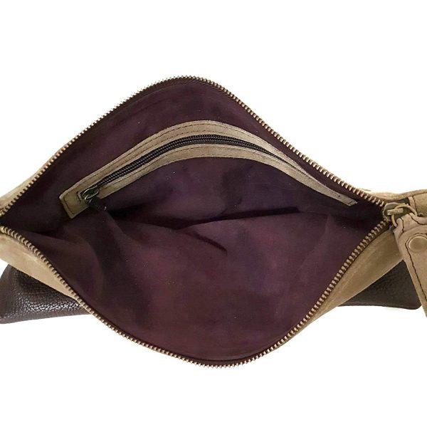 Chiara. Pochette in pelle di camoscio italiana fatta a mano
