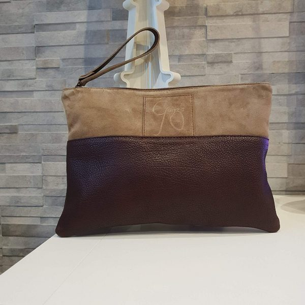 Chiara. Suede leather clutch bag Italian Handmade