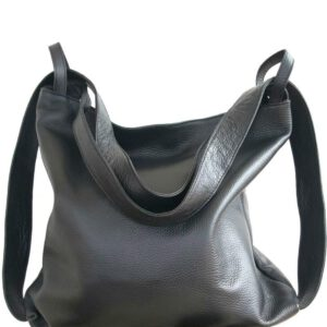 Amante. Leather black backpack shoulder bag