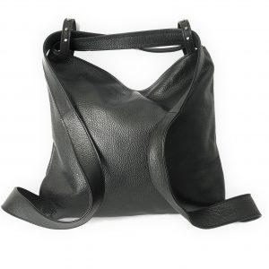 Amante. Leather black backpack shoulder bag - Ganza Roma