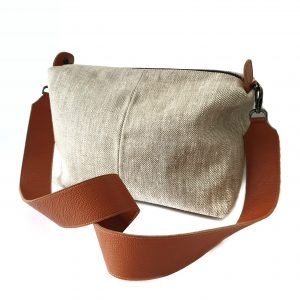 Falena. Linen and leather crossbody bag