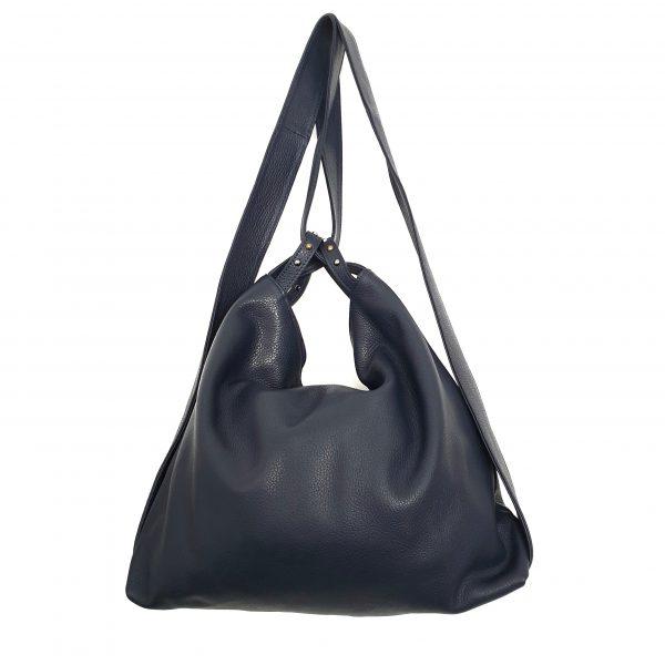 Amante. Leather navy backpack shoulder bag - Ganza Roma