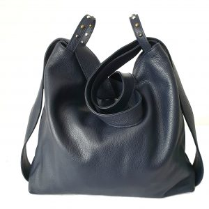Amante. Leather navy backpack shoulder bag - Ganza Roma