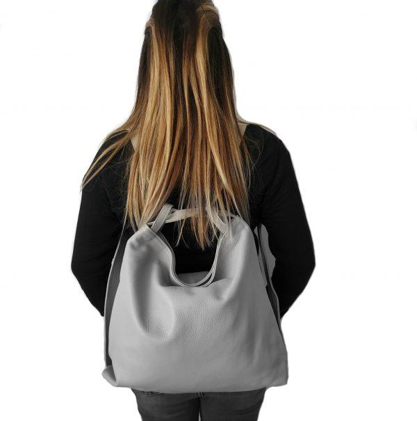 Amante. Leather grey backpack shoulder bag - Ganza Roma