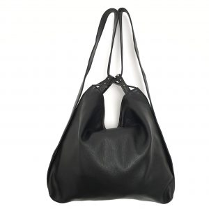 Amante. Leather black backpack shoulder bag - Ganza Roma