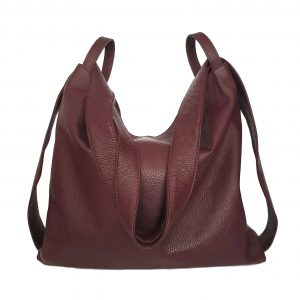 Amante. Leather bordeaux backpack shoulder bag - Ganza Roma