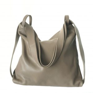 Amante. Leather taupe backpack shoulder bag - Ganza Roma