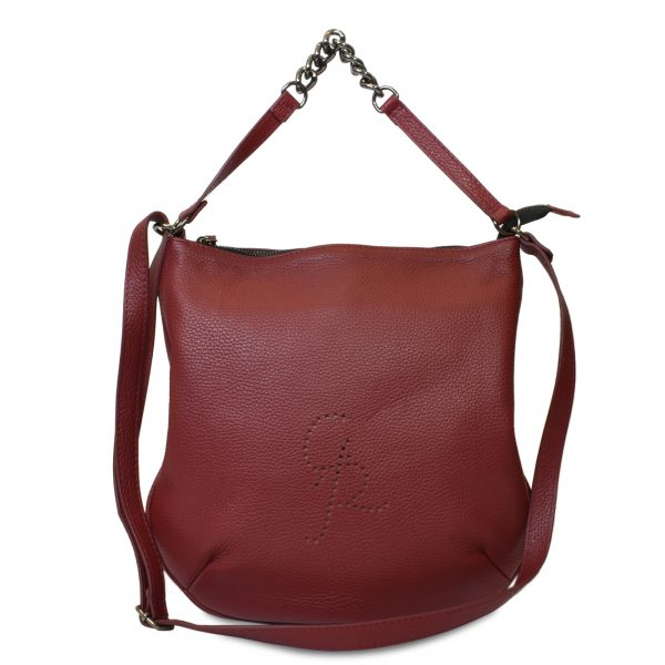 Livia - Leather Flat bag with Shoulder and Handle - Made in Italy