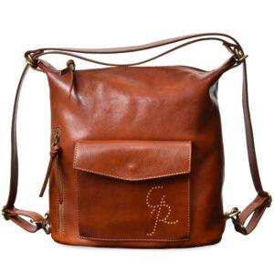 Elena - Damenhandtasche aus echtem Leder Verwandelbar in einen Rucksack Handgefertigtes